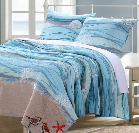 Coastal Seaside Beach Ocean Bedroom Decor Luxury Linens
