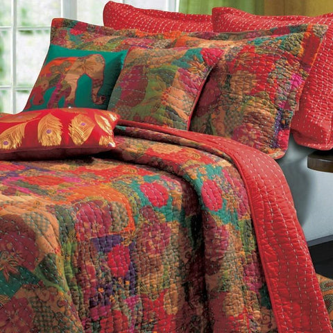 Tropical Exotic Red Floral Cotton Quilt Set