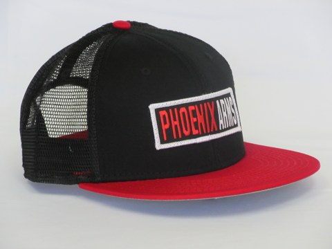 Phoenix Premium Trucker Hat - Black/Red - Round Flat Visor - One Size