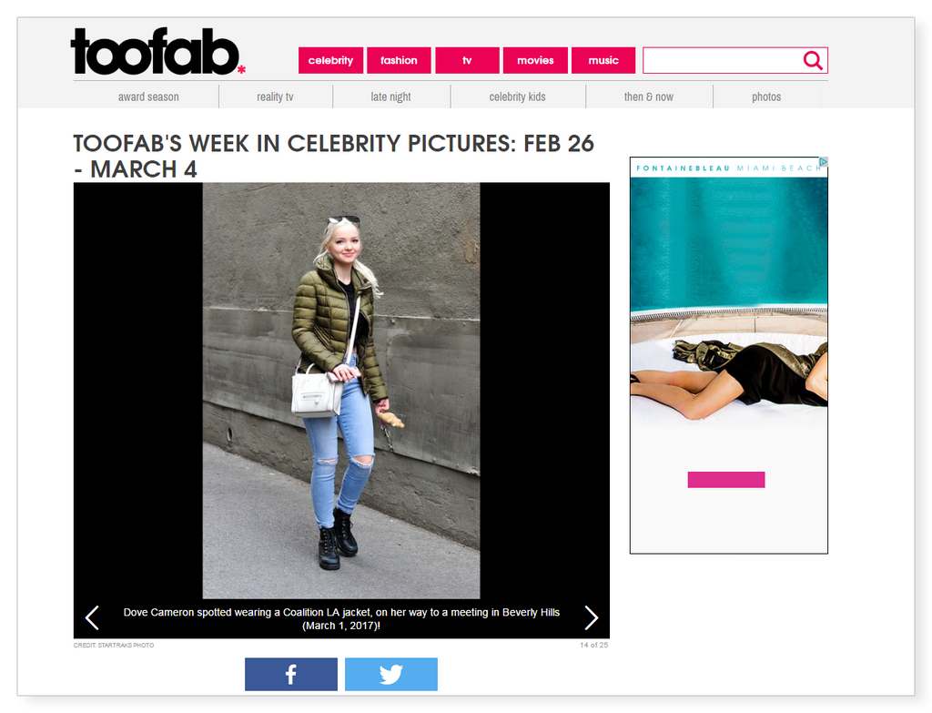 Dove Cameron Coalition LA outerwear TooFab