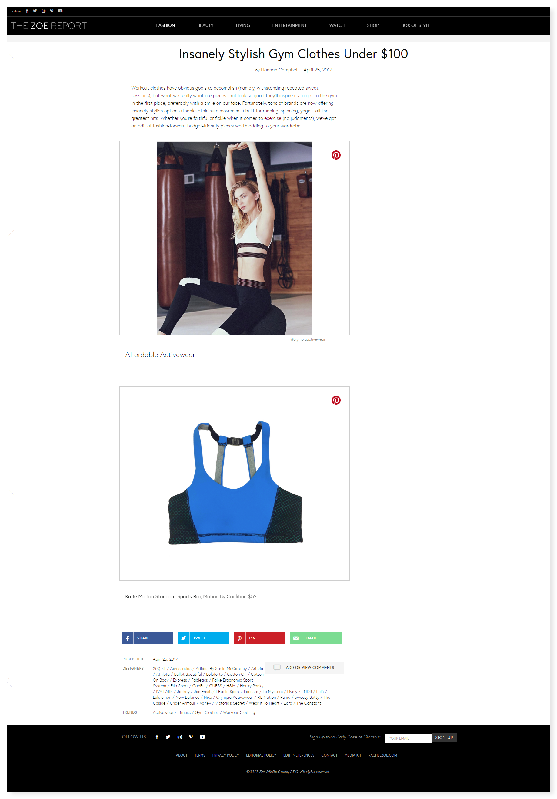Motion by Coalition activewear The Zoe Report