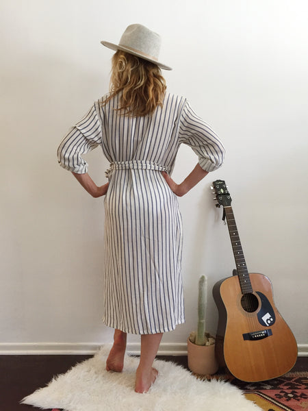 Sultana Beach Robe Navy Stripes
