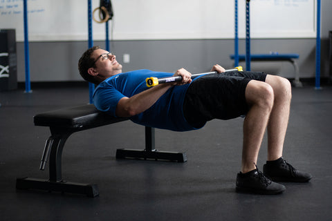 Glute Bridges with synergee weighted bar