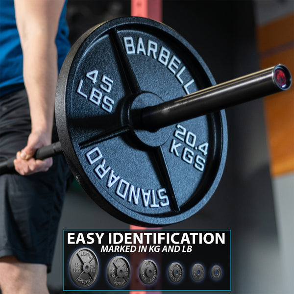 """Available from 2.5 to 45 Pounds. Pairs /& Sets Metal Weight Plates Sold in Singles Olympic /& Power Lifting Workouts Synergee Standard Metal Weight Plates with 2/"""" Opening for Bodybuilding"""