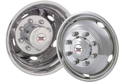 "Phoenix USA D.O.T. Mount Dual Wheel Simulators for 2005+ Ford F450/F550, Full Set for 19-1/2"" Wheels - chromewheelsimulators.com"