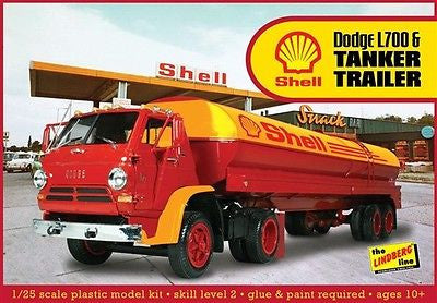 Lindberg 1/25 Dodge L700 w/Shell Tanker - chromewheelsimulators.com