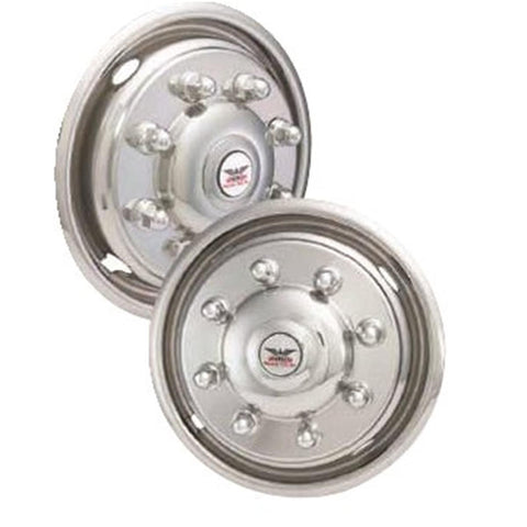 "Phoenix USA D.O.T. Mount Dual Wheel Simulators for 2003-2004 Ford F450/F550/E550, Full Set for 19-1/2"" Wheels - chromewheelsimulators.com"