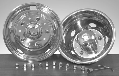 "19.5"" x 6"" Over Lug Design Simulator Set 10 Lugs, 5 Hand Holes Ford 2005-Current - chromewheelsimulators.com"