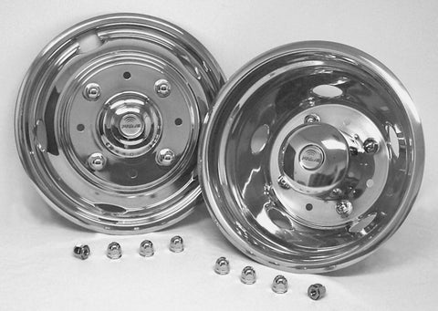 "19.5"" x 6"" Over Lug Design Simulator Set 8 Lugs, 5 Hand Holes Ford 2004-Current - chromewheelsimulators.com"