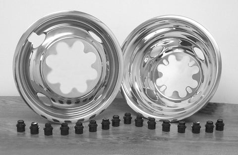 "16"" x 6.50"" Over Lug Design Simulator Set 8 Lugs, 4 Hand Holes GM 2000-Current - chromewheelsimulators.com"