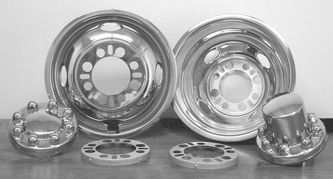 "16"" x 6.50"" Under Lug Design Simulator Set 8 Lugs, 4 Hand Holes GM 2000-Current - chromewheelsimulators.com"