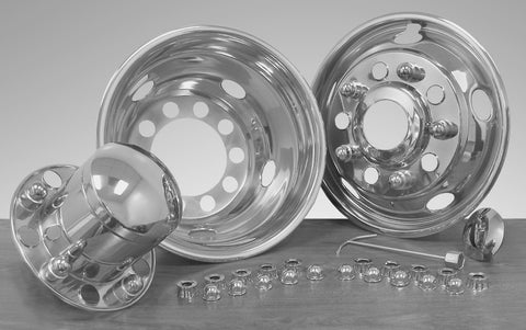 "22.5"" x 8.25"" Over Lug Design Simulator Set Hub Pilot Wheel 10 Lugs, 5 Hand Holes - chromewheelsimulators.com"