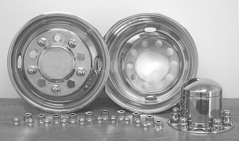 "22.5"" x 7.5"" Over Lug Design Simulator Set Hub Pilot Wheel 10 Lugs, 2 Hand Holes - chromewheelsimulators.com"