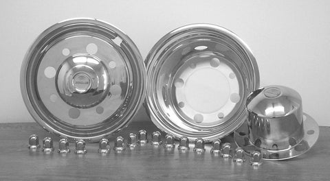 "19.5"" x 6.75"" Under Lug Design Simulator Set for International, Lo-Pro, Kodiak, TopKick, Freightliner & Ford Trucks 8 Lug, 4 Hand Holes - chromewheelsimulators.com"