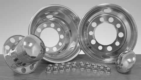 "22.5"" x 7.5"" Under Lug Design Simulator Set 10 Lugs, 2 Hand Holes - chromewheelsimulators.com"