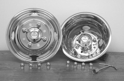 "16"" x 6"" Over Lug Design Simulator Set 8 Lugs, 4 Hand Holes Ford 2002-2004 - chromewheelsimulators.com"