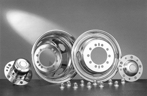 "16"" x 6"" Under Lug Design Simulator Set 10 Lugs, 4 Hand Holes Ford 1992-1998 F450 - chromewheelsimulators.com"