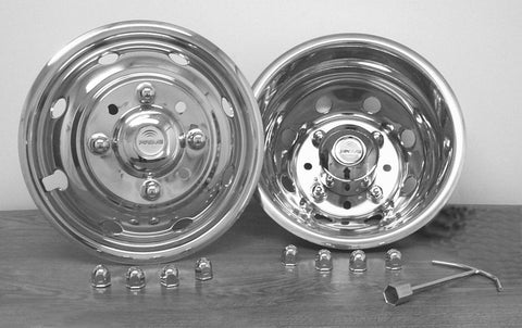 "16"" x 6"" Over Lug Design Simulator Set 8 Lugs, 8 Hand Holes Ford 1999-2004 - chromewheelsimulators.com"
