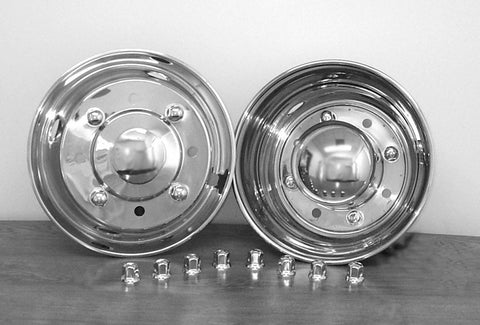 "19.5"" x 6.75"" Over Lug Design Simulator Set for International, Lo-Pro, Freightliner  8 Lug, 4 Hand Hole 1991-2002 - chromewheelsimulators.com"