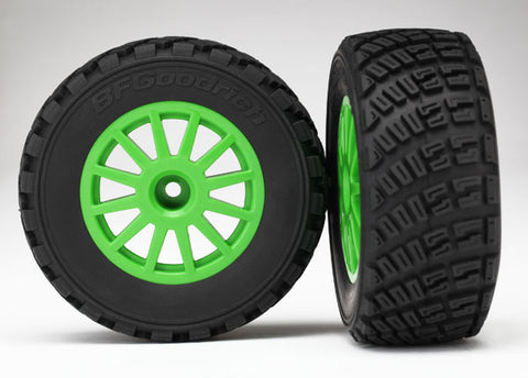 7473X - Tires & wheels, assembled, glued (Green wheels, BFGoodrich® Rally, gravel pattern tires, foam inserts) (2) (TSM rated)