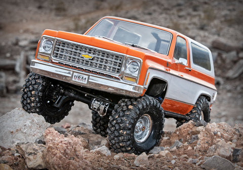 TRX-4® Scale and Trail™ Crawler with 1979 Chevrolet Blazer Body: 1/10 Scale 4WD Electric Truck. Ready-to-Drive® with TQi Traxxas Link™ Enabled 2.4GHz Radio System, XL-5 HV ESC (fwd/rev), and Titan® 550 motor.