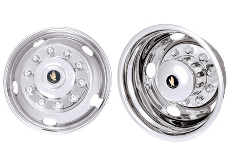 "19.5"" 10 Lug 5 Hand Hole Fits International and '05-'16 Ford F450 and F550 Dual Wheels with Over Lug Mounting - chromewheelsimulators.com"