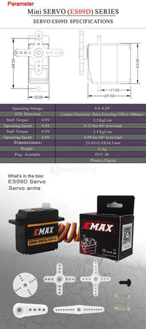 EMAX ES09D Digital Swash Servo For 450 Helicopter - chromewheelsimulators.com