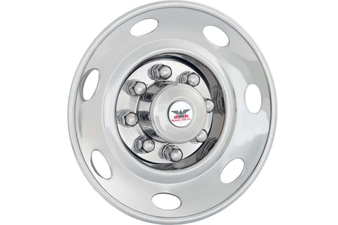 "Phoenix USA D.O.T. Mount Dual Wheel Simulators for 1990+ Chevy HD3500, Full Set for 19-1/2"" Wheels - chromewheelsimulators.com"