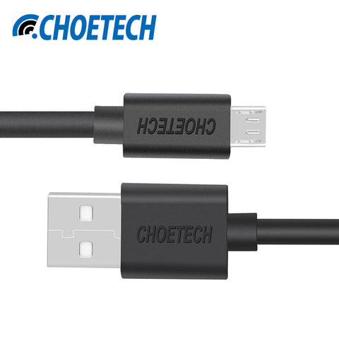 [Original Micro USB Cable]CHOETECH 5V 2.4A Micro USB 2.0 Charging Data Cable Length 3.3ft/1.0m for Smartphones and Tablets-Black - chromewheelsimulators.com