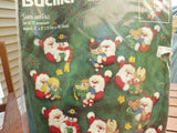 Bucilla Felt Applique Ornaments Santa & Pals set of 12 ornaments
