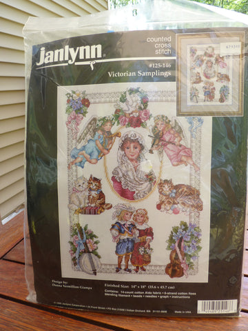 "Janlynn Counted Cross Stitch Victorian Samplings 14""x18"" frame size"