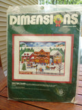 "Deminsions Counted Cross Stich Christmas Village 14""x11"" frame size"