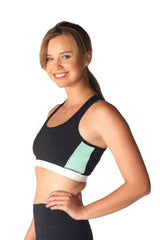 Mono B Color Block Sports Bra in Mint & Ivory