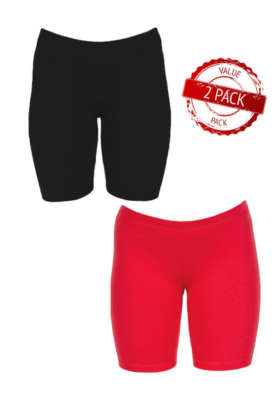 2 Pack - Women's Sexy Basics Cotton Spandex Yoga Shorts | Chafe Free