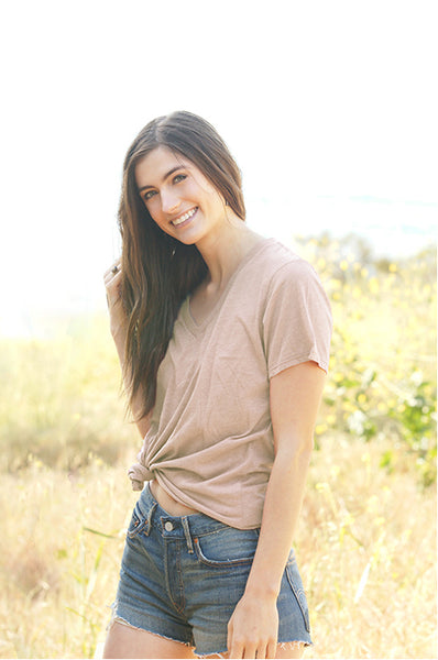 Organic + Recycled Taupe V-Neck Tee