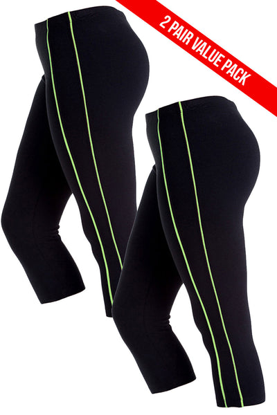 2 Pack Double Stripe Sport Capris