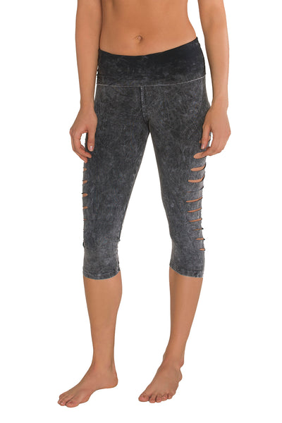 Stonewash Organic Cotton Side Cut Capris