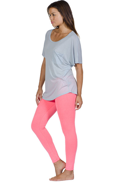 Electric Pink Combed Cotton Spandex Legging