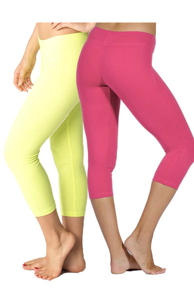2 Pack Cotton Spandex Capri Leggings