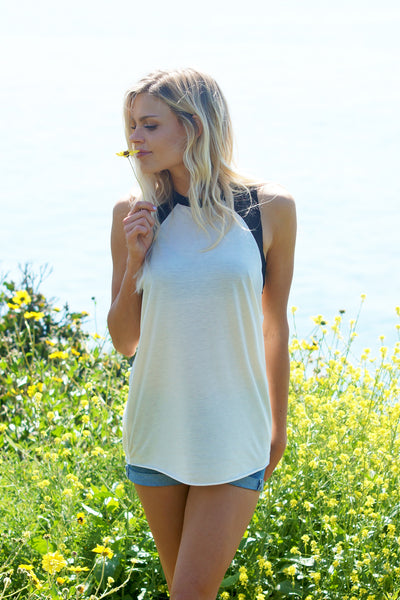Super Soft Two Tone Long Muscle Tank