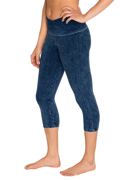 Organic Cotton Stonewash Fold Over Capris