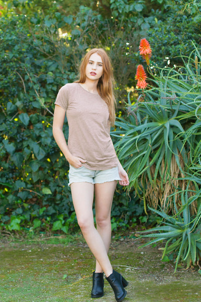Organic + Recycled Taupe Crew Neck Tee