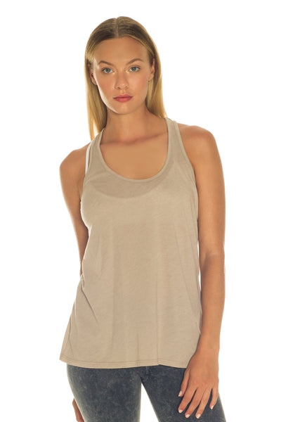 Organic and Recycled Taupe Racer Back Tank