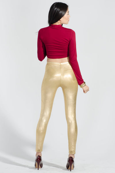 Metallic Gold High Waist Stretch Leggings