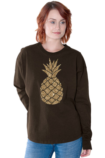 Glitter Pineapple Organic Cotton Jersey Tee
