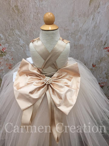 Mini Bride Flower Girl Dress Champagne/Gold