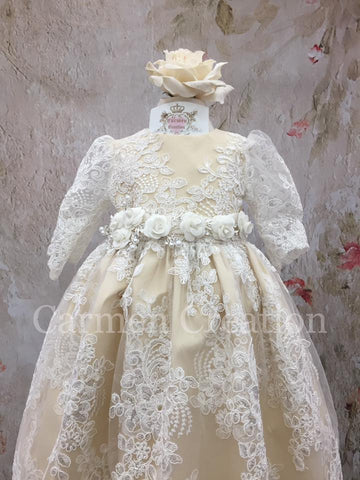 Venetian Baptism Gown Champagne