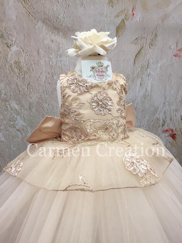 Mini Bride Flower Girl Dress Champagne/Gold Tutu