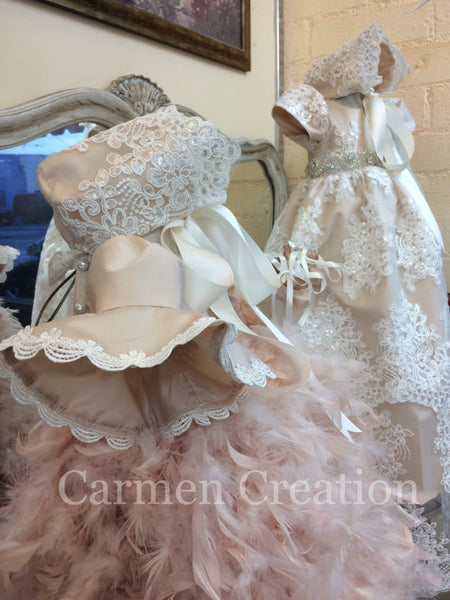 Victorian Feather Christening Gown Blush Pink