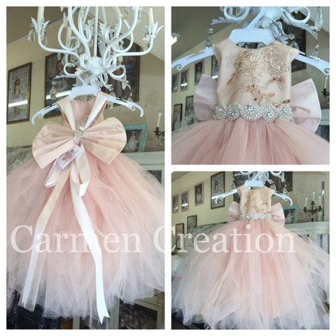 Mini Bride Flower Girl Dress Blush/Gold